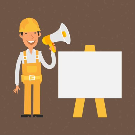Builder stands near with flip-chart holds megaphone