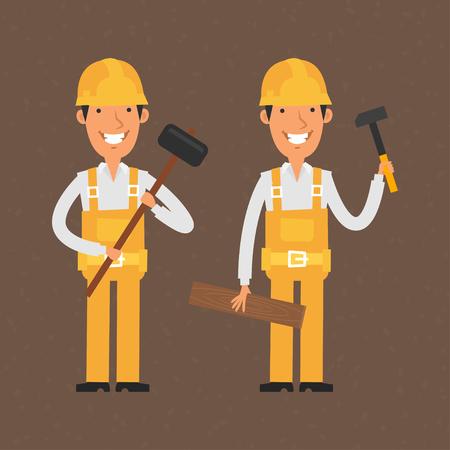 carpintero: Dos constructores que sostienen el martillo y la sonrisa