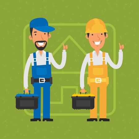 albañil: Constructor y reparador muestran los pulgares para arriba Vectores