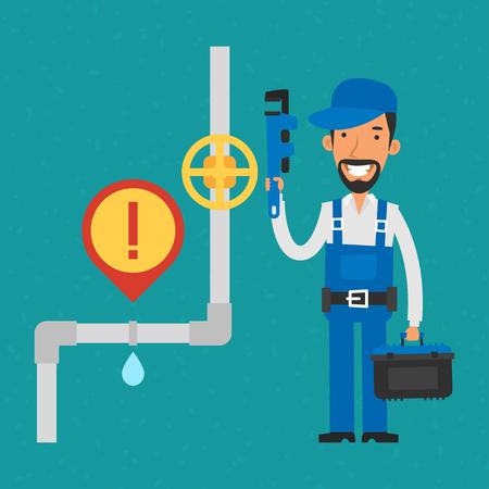 fontanero: Reparador sostiene la llave de tubo y sonriendo