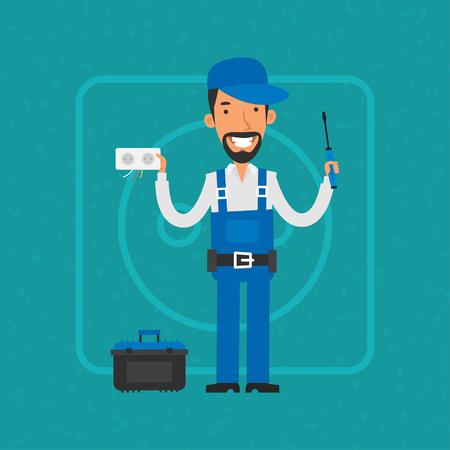 repairing: Repairman repairing electrical equipment