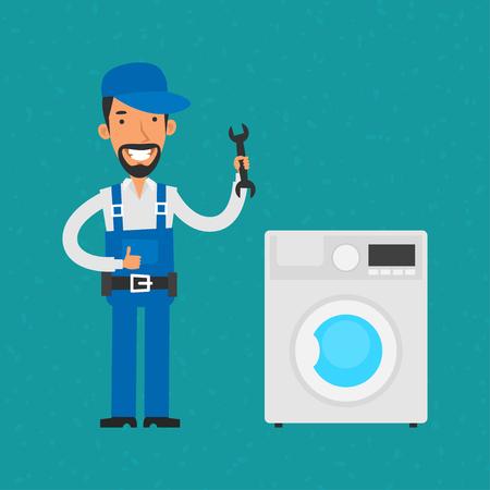 household appliances: Repairman repairing household appliances