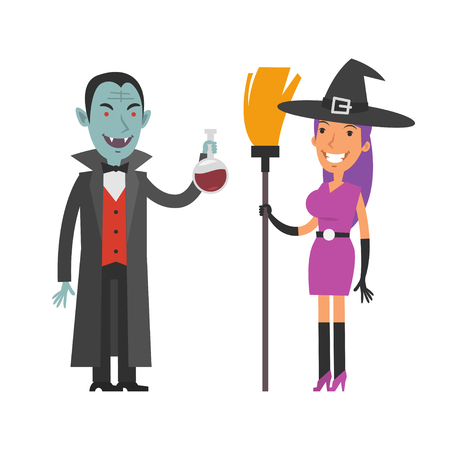 vector girl: Characters Dracula and Witch
