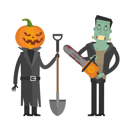 horror: Characters Pumpkin and Frankenstein
