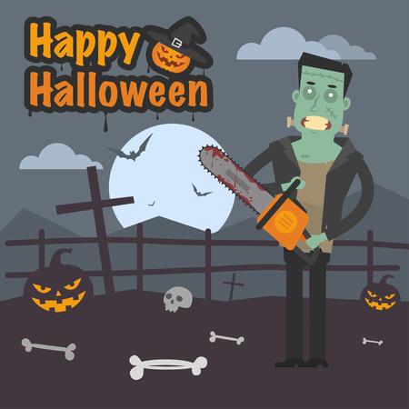 angry sky: Illustration Halloween Frankenstein holding chainsaw Illustration