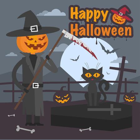 scythe: Ilustración de la calabaza de Halloween con guadaña y el gato