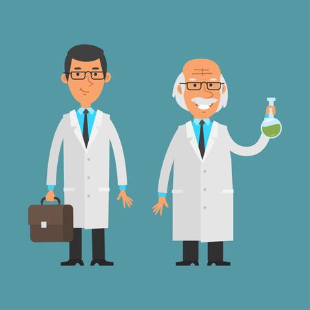 investigador cientifico: Viejo y joven científico de pie y sonriente Vectores
