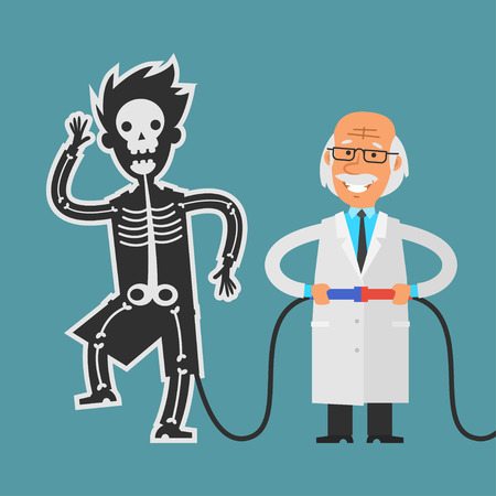 to a scientist: Old scientist conducting experiments with his assistant