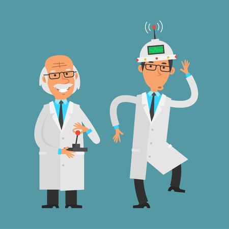 scientific: Old scientist manages his assistant using joystick