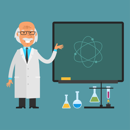 cartoons: Old scientist points to chalkboard Illustration