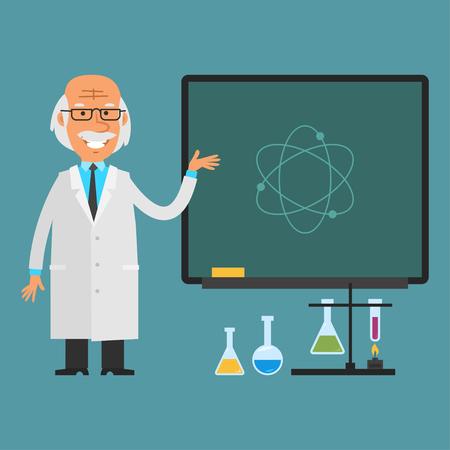 standing man: Old scientist points to chalkboard Illustration