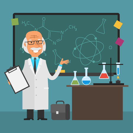 Old scientist points to chalkboard and smiling
