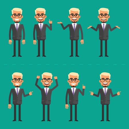 man in suit: Businessman blond in various poses