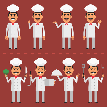 whites: Chef character in various poses