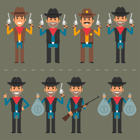 period costume: Cowboy character weapons and money Illustration