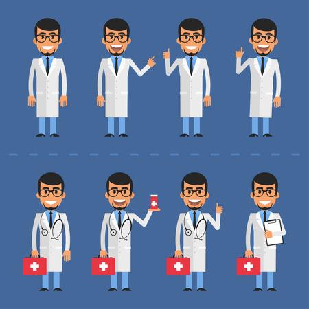 medico caricatura: carácter médico en varias poses