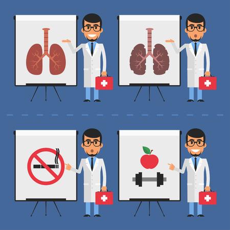 flip chart: Doctor indicates on flip chart