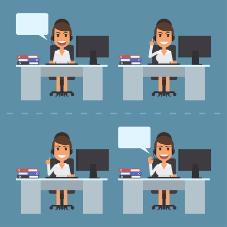 telephone operator: Girl telephone operator call center Illustration