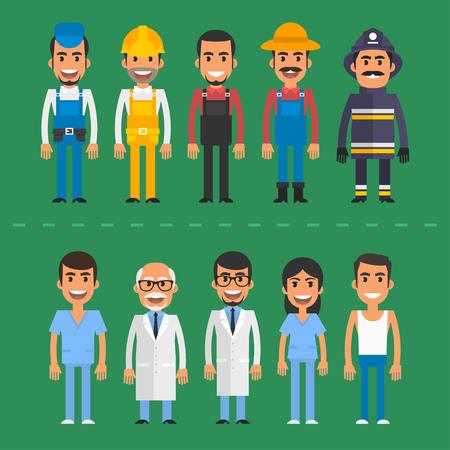 trabajadores: Grupo médico gente constructor bombero enfermera agricultor