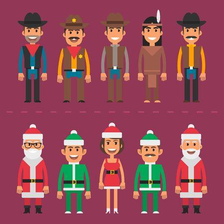 gnome: Group people cowboy sheriff santa claus gnome