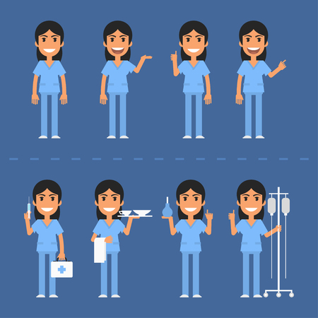 enfermera caricatura: Personajes de la enfermera en varias poses