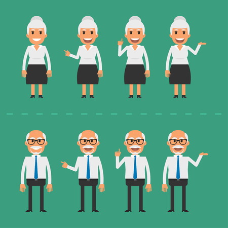 old business man: Old man and woman in various poses