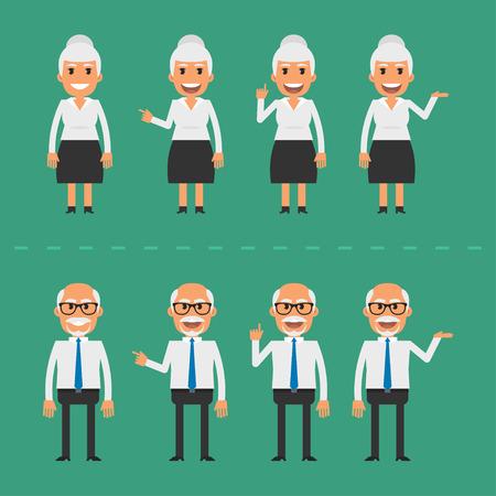 personas saludandose: Viejo hombre y mujer en varias poses Vectores