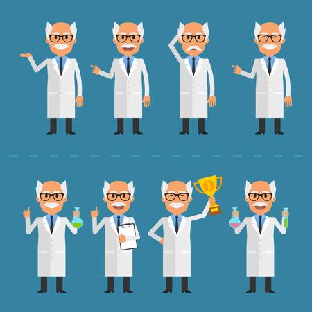 Old scientist in various poses