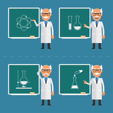 chemists: Old scientist indicates on chalkboard
