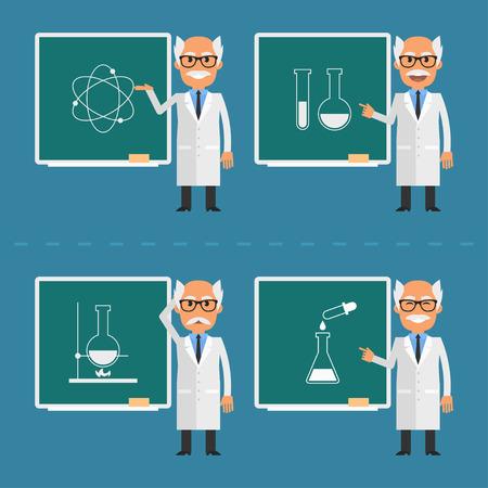 male teacher: Old scientist indicates on chalkboard