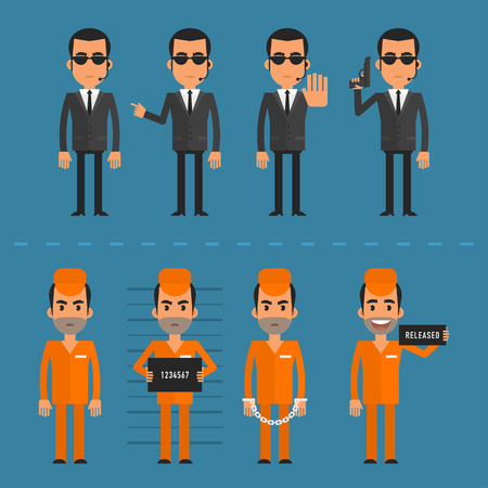 bodyguard: Prisoners and bodyguard in various poses Illustration