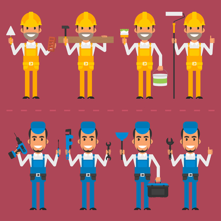 builder: Repairman and builder in various poses Illustration