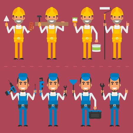 cartoon builder: Repairman and builder in various poses Illustration