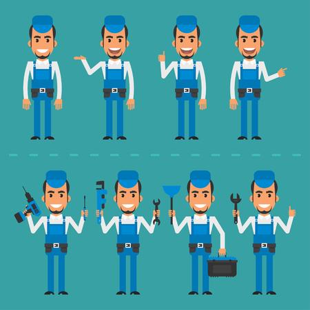 fixing: Repairman in various poses