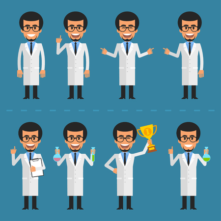 researcher: Scientist character in various poses