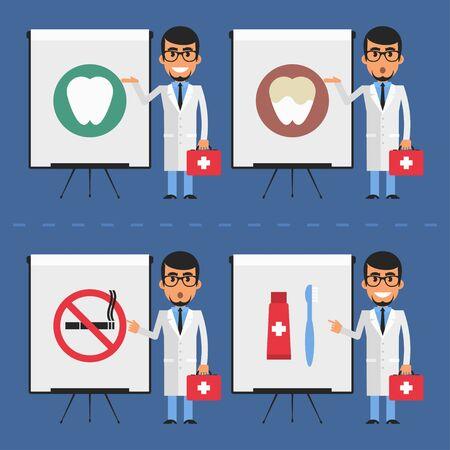 stomatologist: Stomatologist indicates on flip chart Illustration