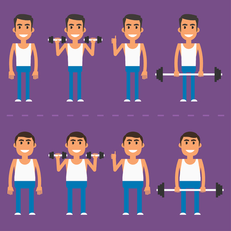 man full body: Thick and thin athlete in different poses Illustration