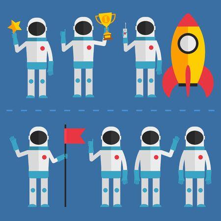 rocket man: Astronaut in various poses Illustration