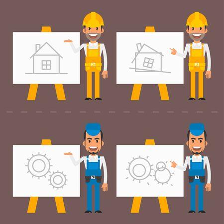 indicate: Builder and repairman indicate flip chart