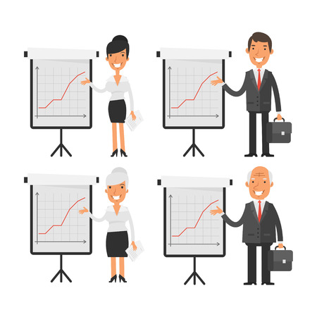 woman smiling: Business people point to flip chart Illustration