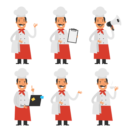 clothes cartoon: Cheerful chef in different poses part 2 Illustration