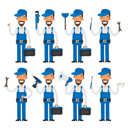 electrician with tools: Repairman in different poses Illustration