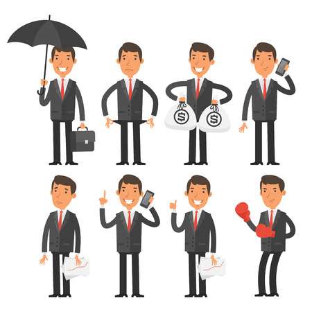 set of money: Businessman in different poses Illustration