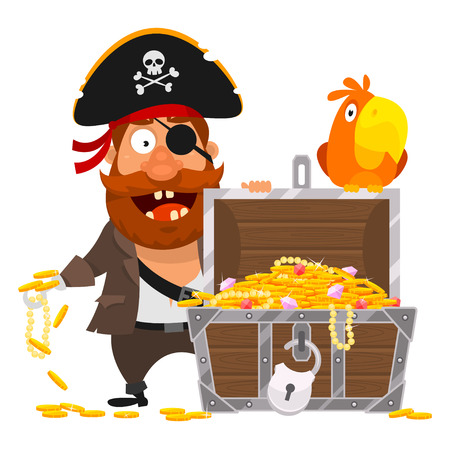 Pirate parrot and chest of gold Illustration