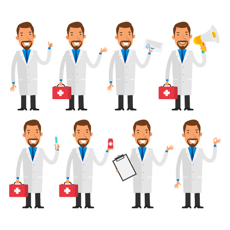 doctor vector: Dentist in various poses Illustration