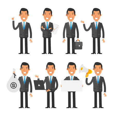 professional occupation: Businessman in blue tie in different poses