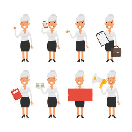 woman vector: Old business woman in different poses Illustration