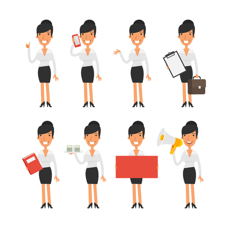 woman at the phone: Business woman in different poses Illustration