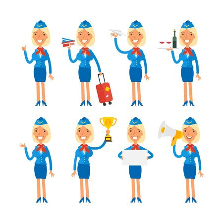 profession: Stewardess in different poses Illustration