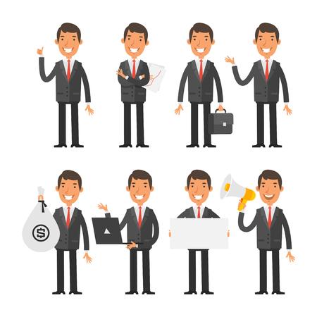 pieniądze: Biznesmen w czerwonym krawacie w różnych pozach